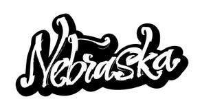 nebraska etikett Modern kalligrafihandbokstäver för serigrafitryck Royaltyfria Bilder