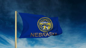 Nebraska flag slider style with title. Waving in stock video footage