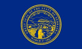 Nebraska flagga också vektor för coreldrawillustration Amerika tillstånd förenade stock illustrationer