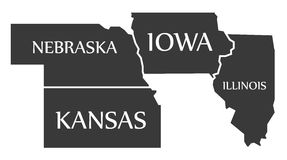 Nebraska - Kansas - Iowa - Illinois Map labelled black. Illustration Royalty Free Stock Photos
