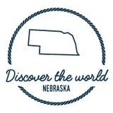 Nebraska Map Outline. Vintage Discover the World. Royalty Free Stock Image