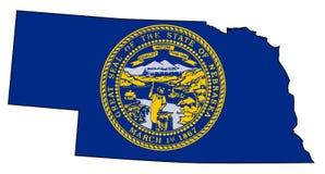 Nebraska Outline Map and Flag Royalty Free Stock Photos