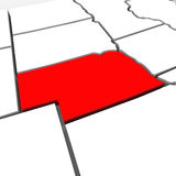 Nebraska Red Abstract 3D State Map United States America. A red abstract state map of Nebraska, a 3D render symbolizing targeting the state to find its outlines Royalty Free Stock Photo