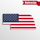 Nebraska State map with US flag inside and ribbon Royalty Free Stock Photos
