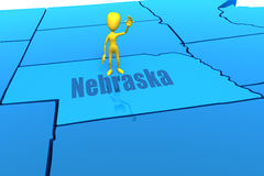 Nebraska state outline with yellow stick figure Royalty Free Stock Photos