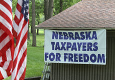 Nebraska Taxpayers for Freedom sign at Tea Party Rally Stock Image
