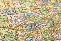 Nebraska on a vintage map Royalty Free Stock Image