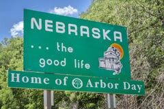 Nebraska welcome road sign. Nebraska , the good life, home of Arbor Day - roadside welcome sign at state border Stock Photo