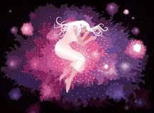 Nebula. Illustration of a girl sleeping on a Nebula. In the  file the girl and the background are on separate layers, so they can easily be moved or edited Stock Photography