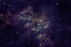 Nebula. A nebula with stars and a view from outer space in a dark purple Royalty Free Stock Photo