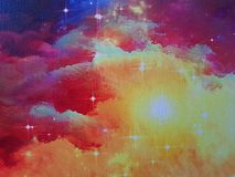Nebula on canvas. And stars, painted color universe stock illustration