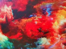 Nebula on canvas. And stars, painted color universe royalty free illustration