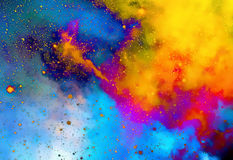 Nebula, Cosmic space and stars,  color background. fractal effect. Painting effect. Elements of this image furnished by Stock Image