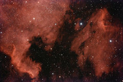 Nebula in deep space. A wide field astronomical image of the great nebula at the constellation of Cygnus (also known as North America nebula or NGC7000 royalty free stock photography