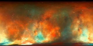 Nebula 360 degrees VR panorama. Computer generated abstract background, 3D rendering Stock Images