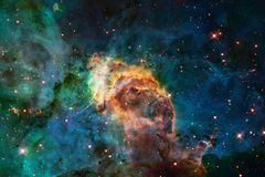 Nebula and galaxies in space. Elements of this image furnished by NASA.  stock image