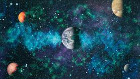 Nebula and galaxies in space.Planet and Galaxy - Elements of this Image Furnished by NASA Royalty Free Stock Image