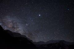 Nebula galaxy night sky. Real milky way galaxy night over mountains, landscape royalty free stock image