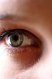 Nebula Iris. Close up of an eye where the hazel iris resembles a celestial nebula Royalty Free Stock Photos