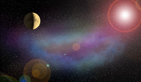 Nebula Moon and flash of the planet in the space Stock Image