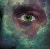 Nebula painted on a face Royalty Free Stock Images