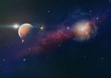 Nebula and planet Royalty Free Stock Photos