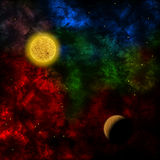 Nebula and the planet in the front Stock Photos