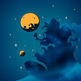 Nebula, planets and stars in space, vector Royalty Free Stock Photos