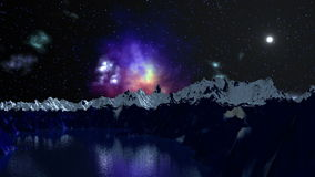 Nebula is reflected in the mountain lake stock video