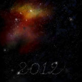 Nebula space background with New year theme. Nebula space background with New 2012 year theme stock illustration