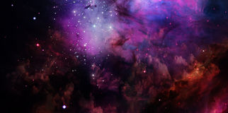 Nebula and stars in space. Far being shone nebula and stars field against space.Elements of this image furnished by NASA Stock Photo