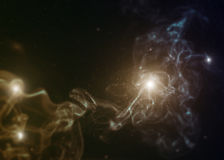 Nebula with tilt-shift miniature effect. Stock Photo