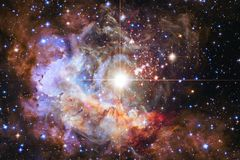 Nebulae and many stars in outer space. Elements of this image furnished by NASA.  royalty free illustration