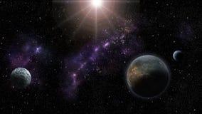 Nebulas, gwiazdy i planety, fantastyka naukowa i astro backround ilustracji