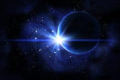 Nebulosa azul con el planeta ilustración del vector