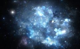 Nebulosa azul del espacio Imágenes de archivo libres de regalías