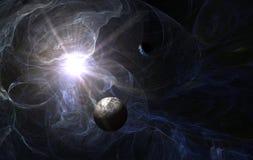 Nebulosa blu con il pianeta di morte Fotografie Stock