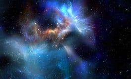 Nebulosa blu dello spazio Fotografia Stock