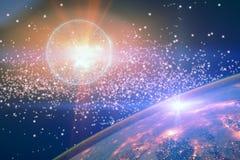 Nebulosa colorida das estrelas no espaço Terra do planeta e explosão da supernova no espaço aberto contra as estrelas Os elemento ilustração do vetor