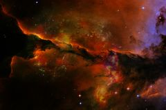 Nebulosa colorida impressionante em algum lugar no universo infinito imagens de stock royalty free