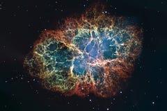 Nebulosa de cangrejo en tauro de la constelación Estrella de neutrón del pulsar de la base de la supernova imagen de archivo