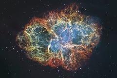 Nebulosa de caranguejo no Touro da constelação Estrela de nêutron do pulsar do núcleo da supernova foto de stock royalty free