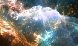 Nebulosa del espacio que brilla intensamente detalle stock de ilustración