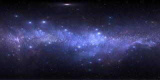 Nebulosa dello spazio con le stelle Mappa dell'ambiente 360 HDRI di realtà virtuale Proiezione equirectangular dell'universo, pan illustrazione di stock