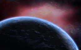 Nebulosa dello spazio profondo con il pianeta Fotografie Stock Libere da Diritti