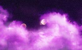 Nebulosa di sogno viola dell'onda Immagine Stock