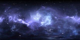 Nebulosa do espaço com estrelas Mapa do ambiente 360 HDRI da realidade virtual Projeção equirectangular do universo, panorama esf ilustração royalty free