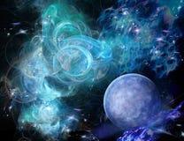 Nebulosa e planeta azuis Imagens de Stock Royalty Free