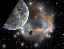 Nebulosa e planeta do espaço Foto de Stock Royalty Free