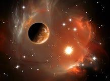 Nebulosa e planeta do espaço Fotos de Stock Royalty Free
